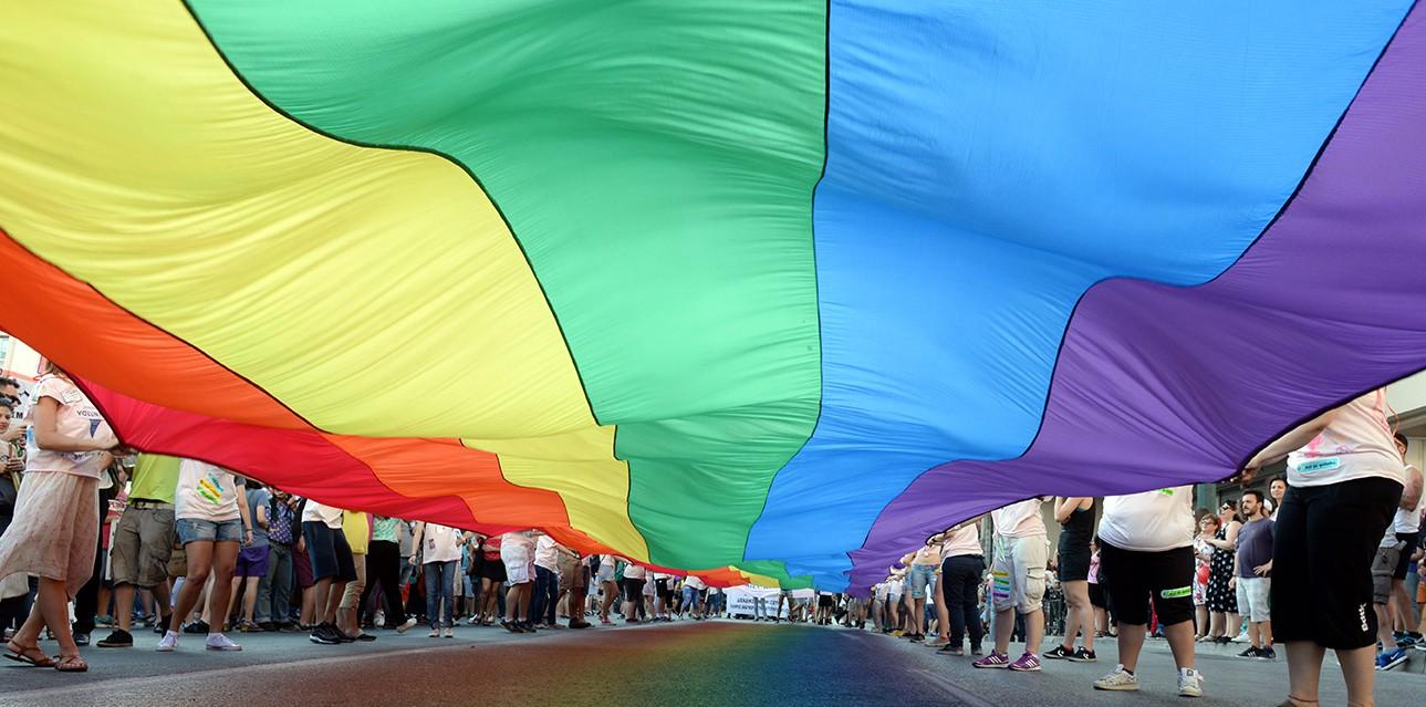 Pride Flag on Dickson Street